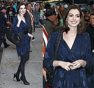 Anne Hathaway Visits The David Letterman Show in a Marc Jacobs Dress
