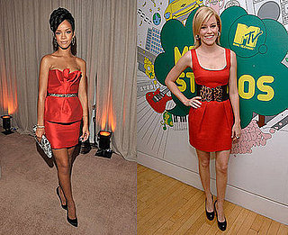 Rihanna and Elizabeth Banks Wear Red Dress, Leopard Belt, Black Pumps