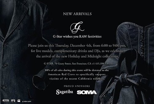 G-Star, RAW Festivities - Thurs, Dec 4th