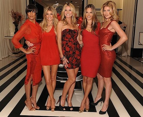 Heidi Klum and Victoria's Secret Angels Attend Grand Opening of Victoria's Secret Lexington Avenue Flagship Store in Red Dresses