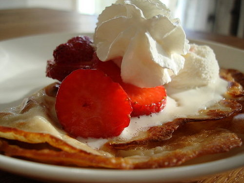 Finnish Pancakes with Strawberries and Cream