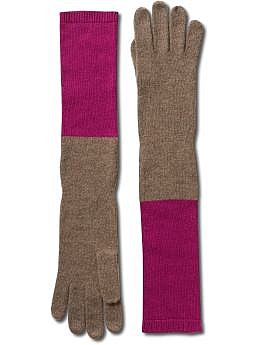 Color-block cashmere-blend glove