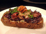 Gorgonzola, Radicchio, Honey, and Walnuts Open-Faced Sandwich