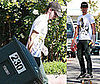 Photos of Shia LaBeouf Taking Out the Recycle Can