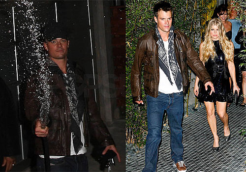 Photos of Fergie and Josh Duhamel at Their Joint Bachelor/Bachelorette Party in Santa Monica, Josh Spraying Paparazzi With Hose