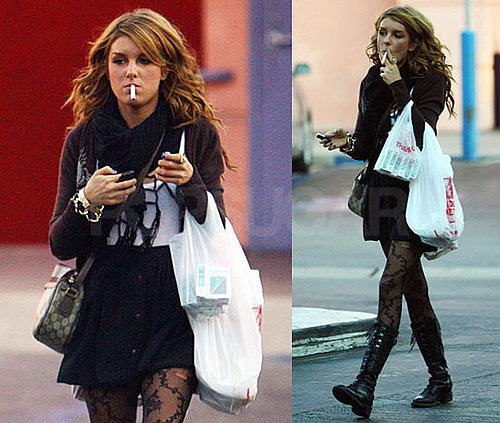 Shenae Grimes Smokes Cigarettes in LA