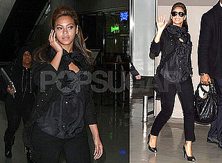 Photos of Beyonce Knowles at JFK Airport and Tokyo's Narita Airport