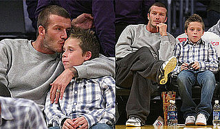 Photos of David and Brooklyn Beckham, Denzel Washington, Sylvester Stallone, Noah Wyle at Lakers vs. Rockets Game