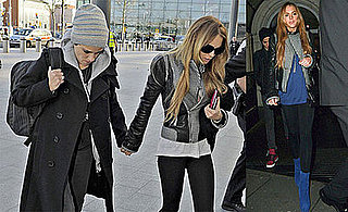 Photos of Lindsay Lohan and Samantha Ronson in London, Lindsay Wearing Blue Louboutin Booties