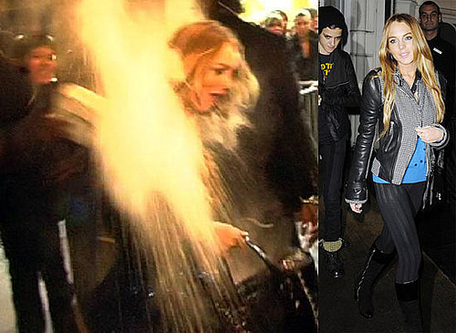Photo of Lindsay Lohan Having Flour Thrown On Her, Lindsay and Samantha in London