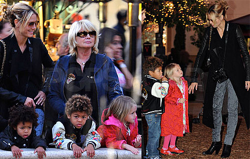Photos of Heidi Klum, Leni Klum, Henry Samuel, Johan Samuel at Christmas Tree