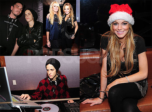 Photos of Lindsay Lohan, Samantha Ronson, DJ AM, Dina Lohan at MySpace Holiday Party at Tenjune