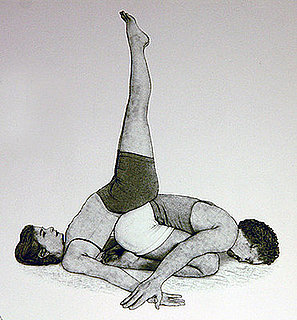 Partner Yoga Pose: Supported Shoulderstand Child's Pose