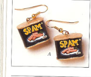 """Handcrafted"" Spam Earrings"