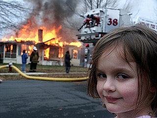 Creepy Girl in Front of a Burning House