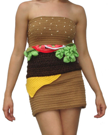 Let the world know how much you love burgers by wearing this Crocheted Hamburger Dress.
