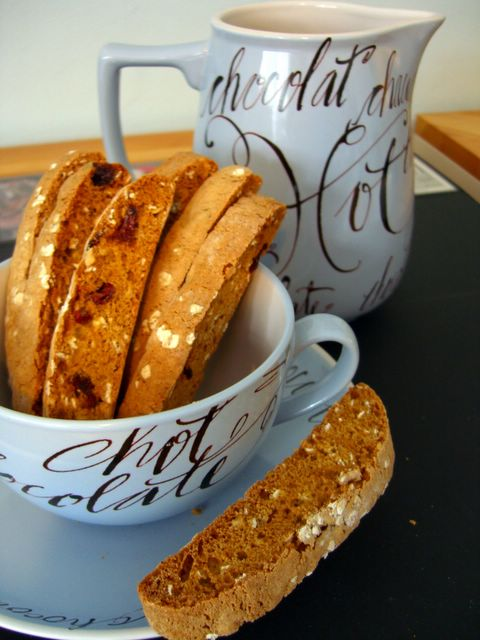 Nicole at Baking Bites has created this recipe for Oatmeal Cookie Biscotti. Just do me a favor and choose the cranberry option, okay?