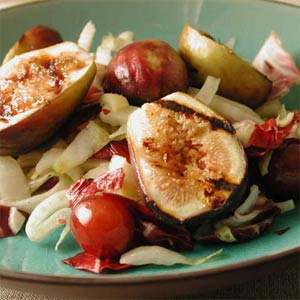 Warm Salad of Figs, Grapes, and Greens
