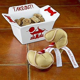 Takeout Dog Bowl or Fortune Cookie Rope Toy ($10)