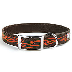 Brown Leather Collar with Orange Tribal
