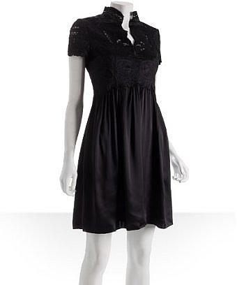 Vivienne Tam black embroidered satin mandarin collar dress at Bluefly