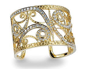 Diamond and Yellow Gold Cuff