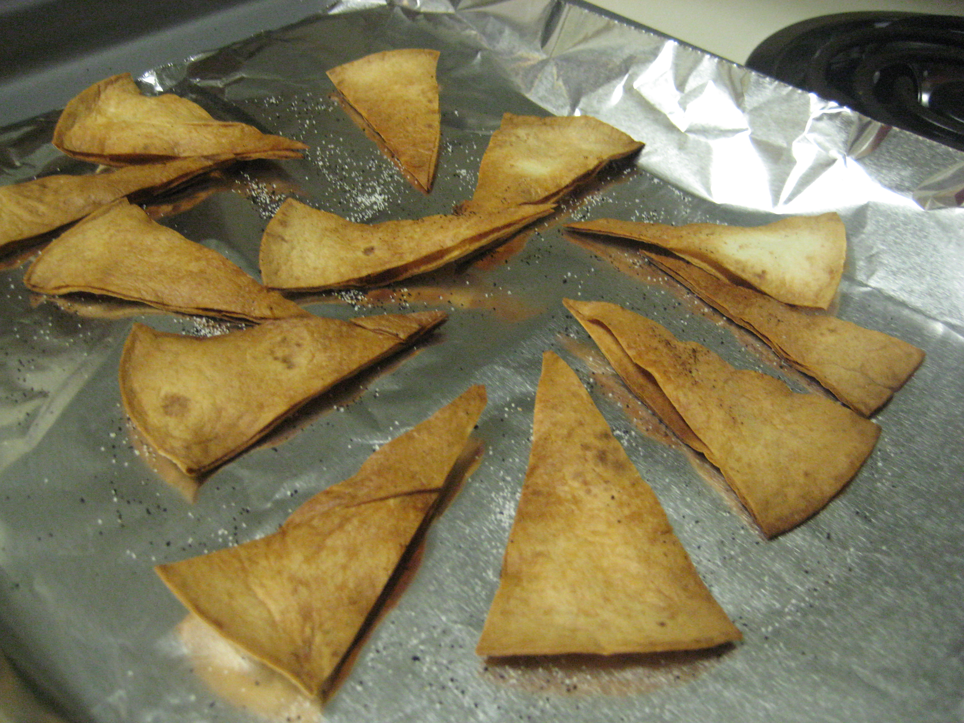Baked tortilla chips.