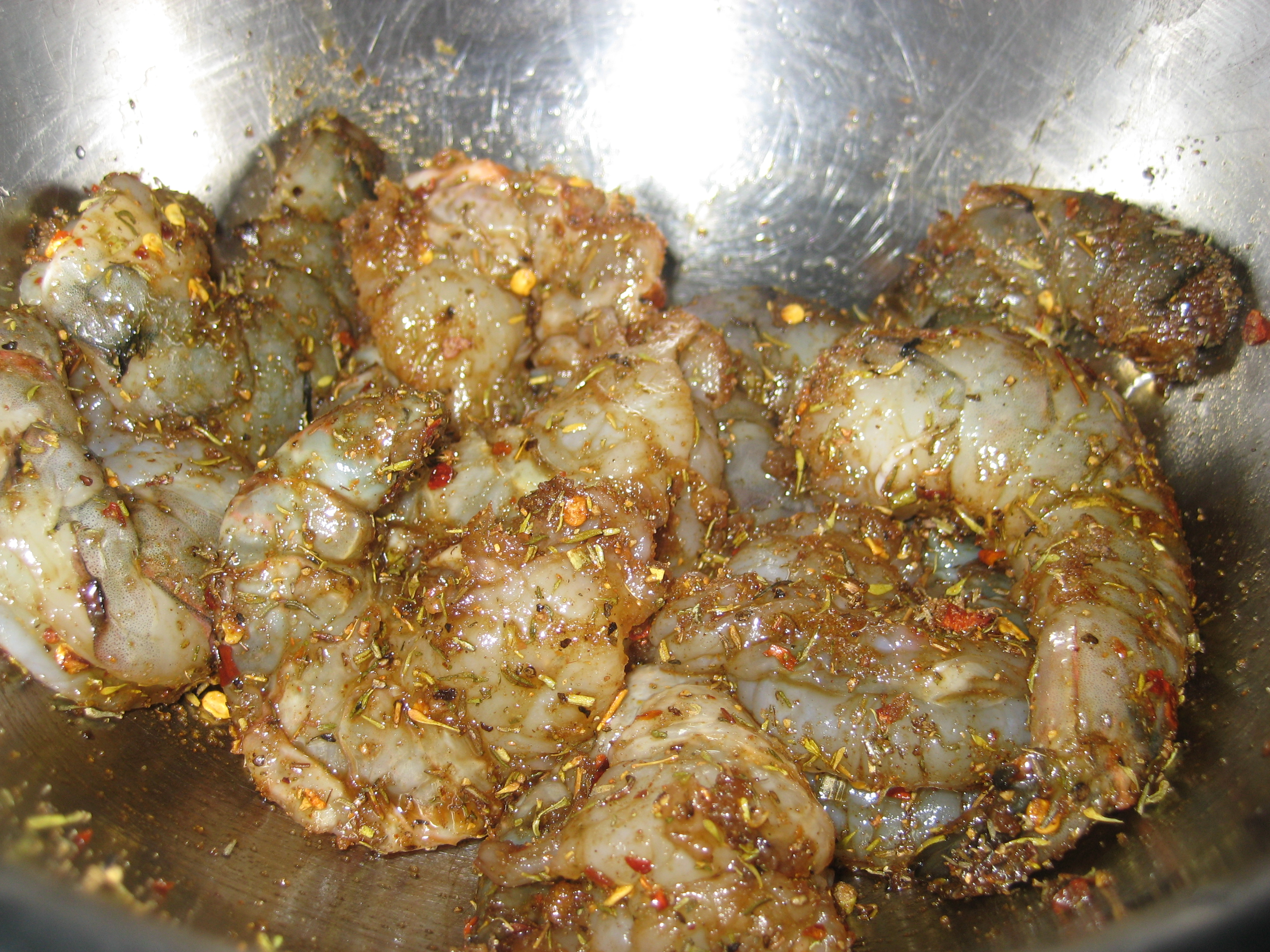 I let the shrimp sit in the spice blend for about 20 minutes.