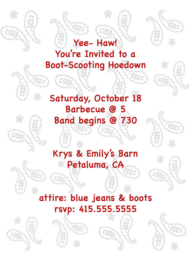 Hoedown Invite: Step by Step