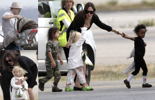 Back to France for the Jolie-Pitts! (In jammies, of course)