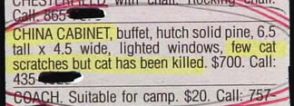 """China cabinet buffet... few cat scratches but cat has been killed."""