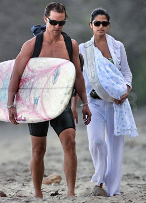 Levi McConaughey arrived in time to check out the waves.