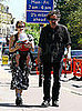 Tim Burton and Helena Bonham Carter Walking With Baby