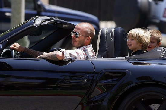 Beckham and the Boys Drive with the Top Down