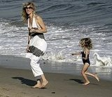Laura Dern and Jaya Run Along the Beach
