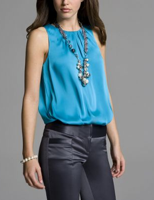 Sleeveless Satin Top $39.50, Express
