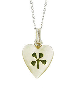 Sterling Silver Four-leaf Clover Heart Necklace : Jewelry from Overstock.com
