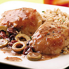 Chicken Thighs with Green Olive, Cherry &amp; Port Sauce