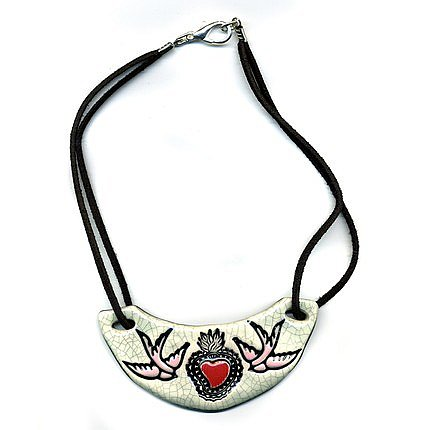 Swallows and a Sacred Heart Bar Necklace
