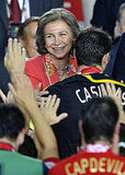 Spain's Queen Sofia congratulates Spanish goalkeeper and captain Iker Casillas.