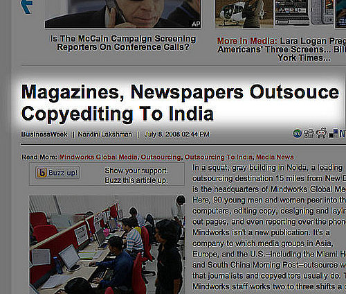 Magazines, Newspapers Outsouce Copyediting to India