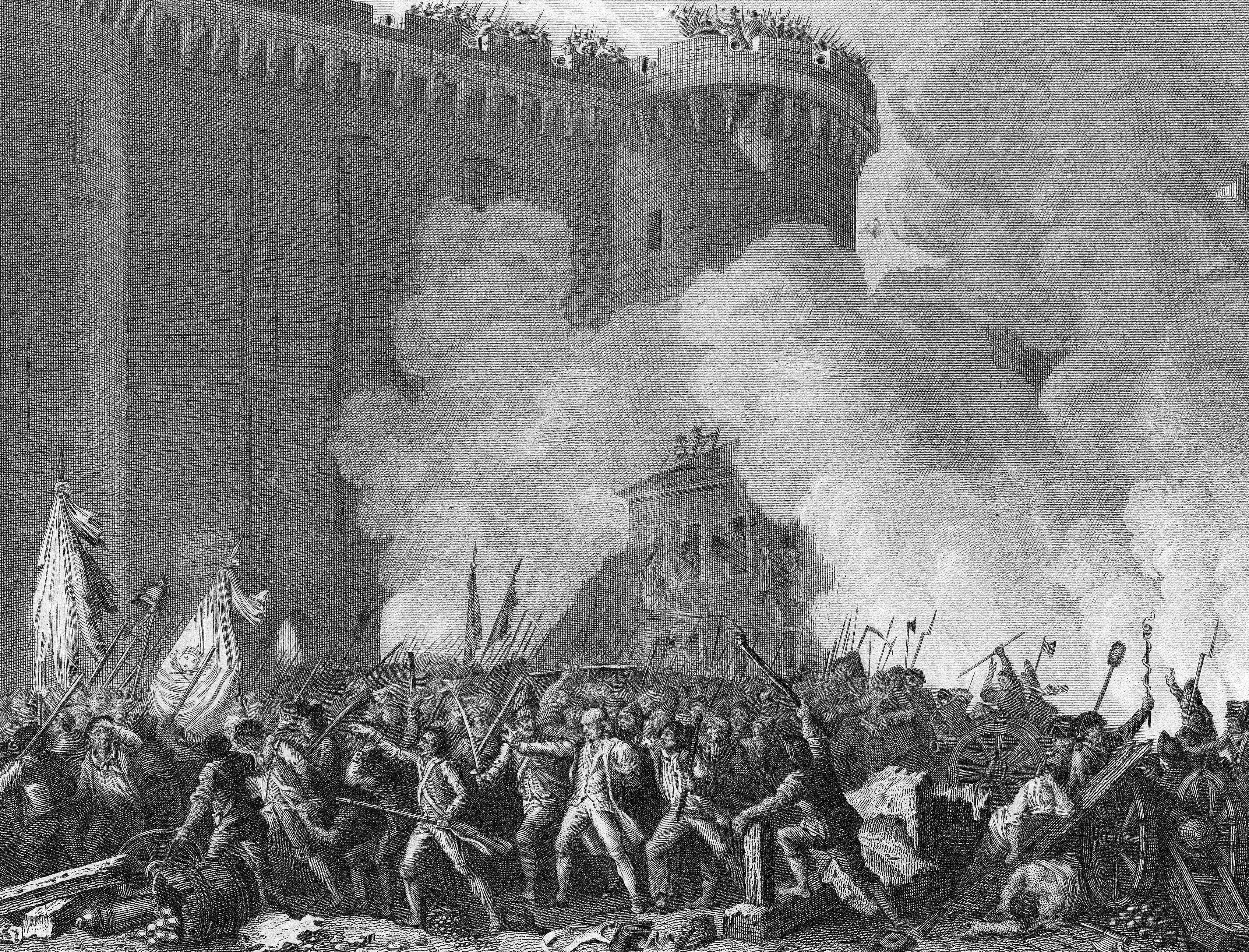 The mass attack on the Bastille fortress ignites the French Revolution.