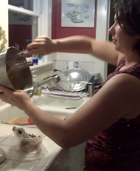 My friend mixing the batter.