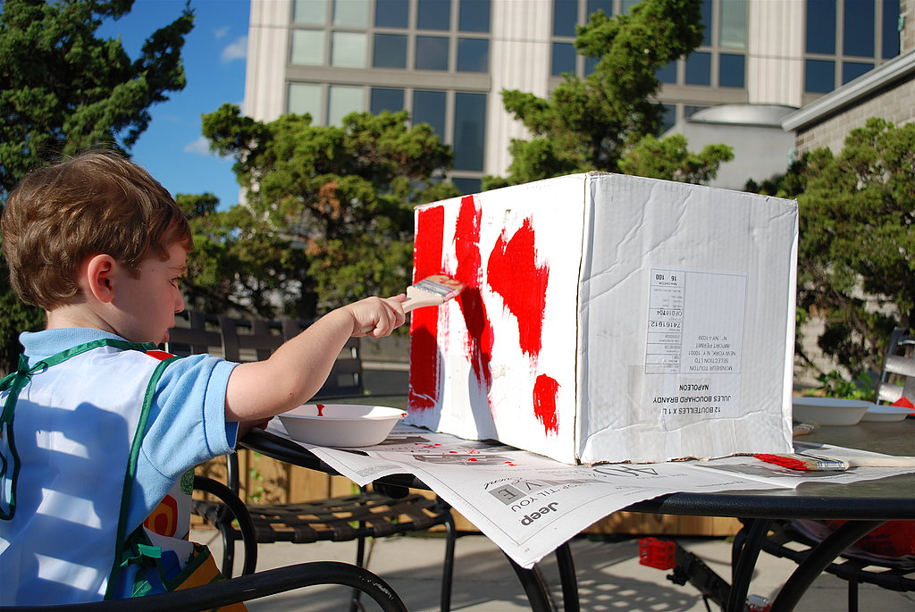 "Paint the body of the truck ""fire engine"" red.  This is a great activity to do with your lil one."