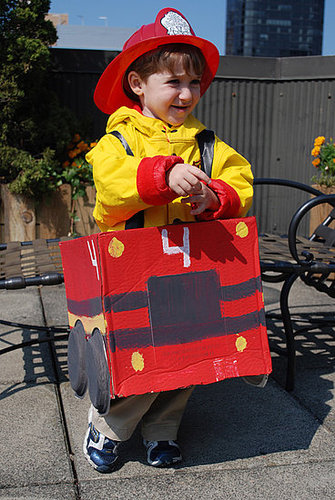 Cardboard Box Fire Truck Halloween Costume