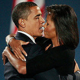 Barack and Michelle Share a Victory Embrace