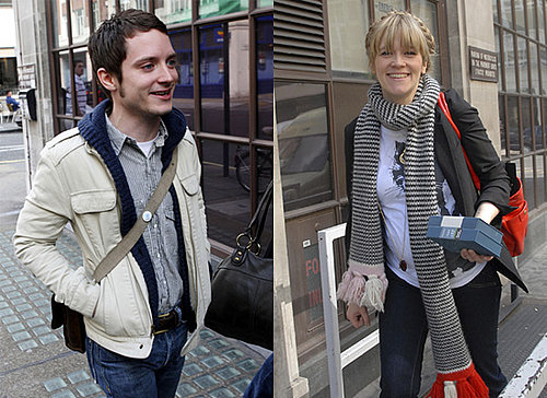 Elijah Wood and Edith Bowman Outside Radio One Studios in London