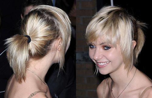 Photo of Gossip Girl Actress Taylor Momsen With Messy Shiny Pony Tail Hair Trend. Love or Hate?