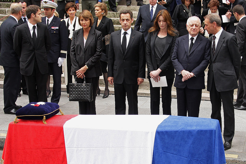 France's Minister of Culture Christine Albanel, French President Nicolas Sarkozy, Carla Bruni-Sarkozy, Pierre Berge and Mayor of