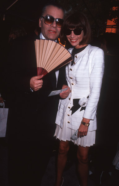 Sept. 1991: Fanning the flames with long-time friend Karl Lagerfeld.